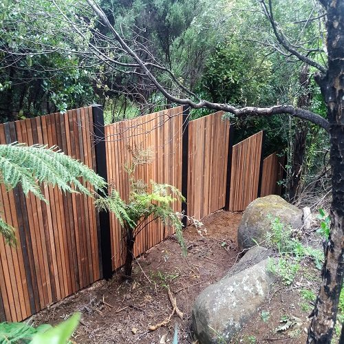 Sloping custom timber fence