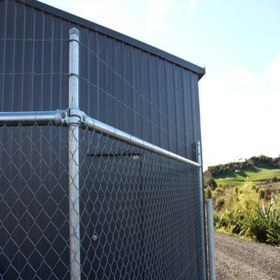 Angled fence and bollard