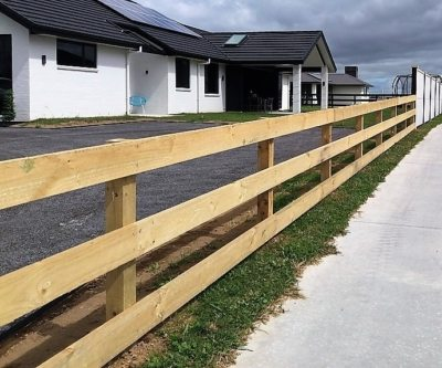 Post and rail timber fence