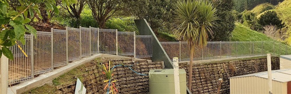 Folded panel hot dip galv with mowing strip at heights stepped