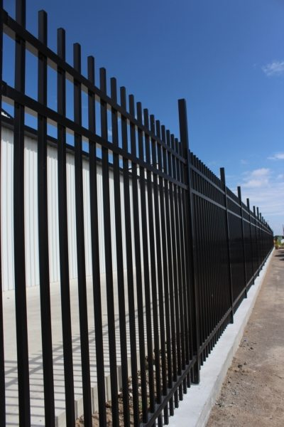 Aluminium Secura Panel fencing WCS install with mowing strip