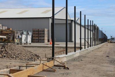Mowing strip-in progress-aluminium fencing