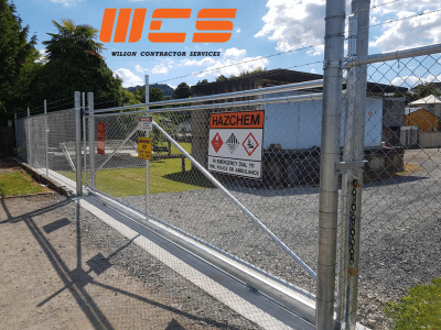 WCS Galv Chainlink with Barbwire topper Security Sliding Gate